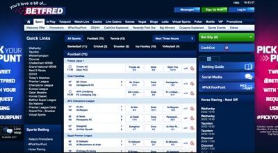 Betfred Sportsbook Screenshot