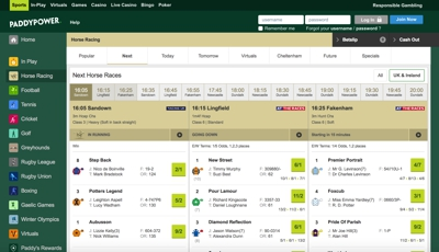 Paddy Power Sports Betting Screenshot