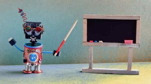 Robot Teacher and Blackboard